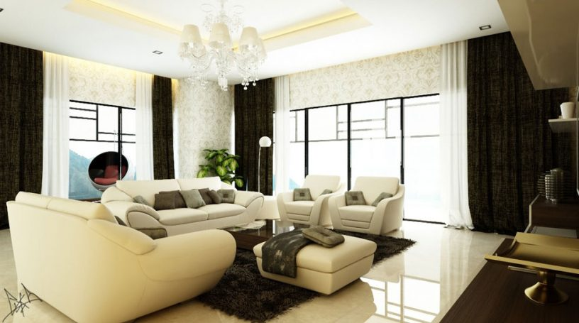 Carving Wallpapered Living Room with Beige Sofas