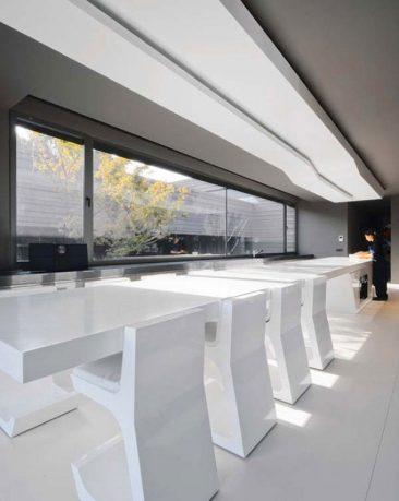 Futuristic and Beautiful White Dining Table Design