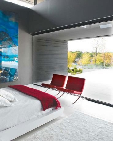 Modern White Bedroom with red Elements