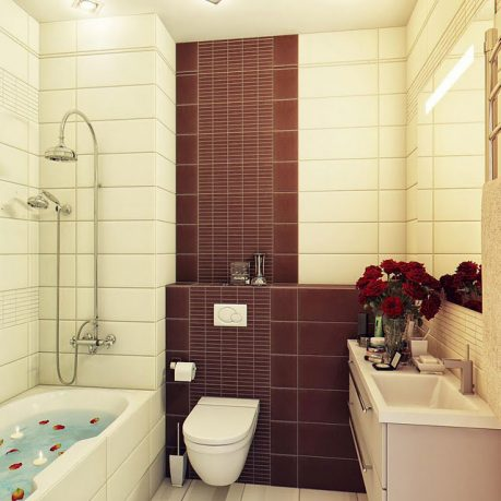 Small Warm Bathroom with Brown and Beige Wall Color