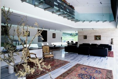 The Reddish Carpets on the Marble Living Room