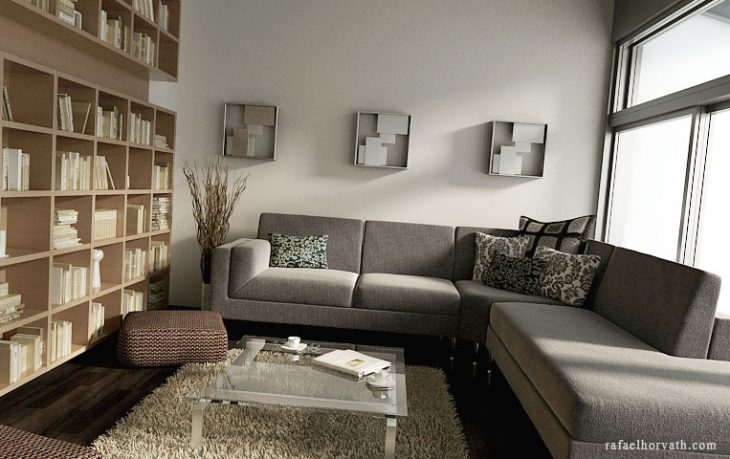 Warm Biege Living Room with Modern Bookshelf