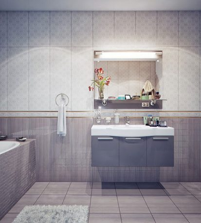 White and Grey Cooler Toned Bathroom
