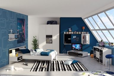 Blue Boys Bedroom Color with Striped Rugs Decor
