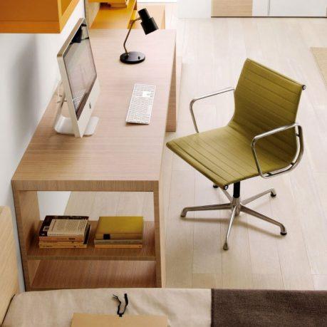 Beech Desk for Mac Design with Orange Hanging Bookshelves