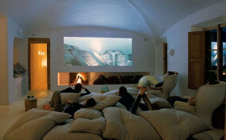 Cave Home Theatre Room with Fireplace