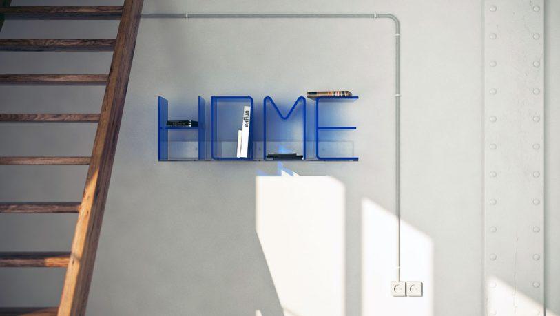 Creative Blue Letters Book Shelves Design