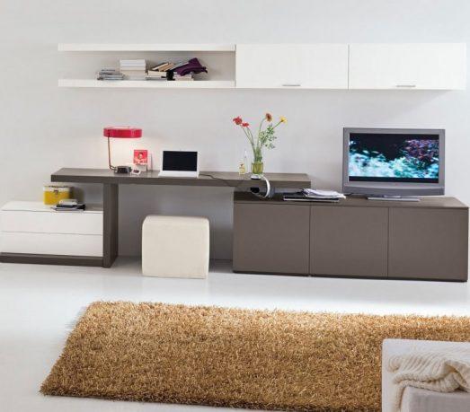 Grey Study Desk in Living Room for Teen