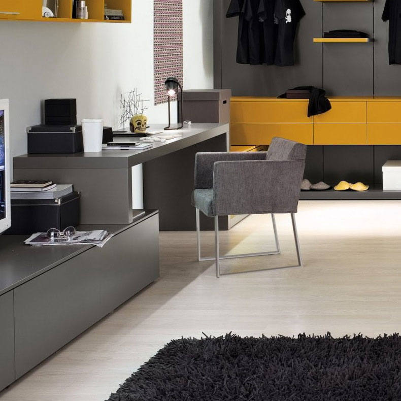 Grey Yellow Furniture For Study Room Ideas My Home Deco Mag