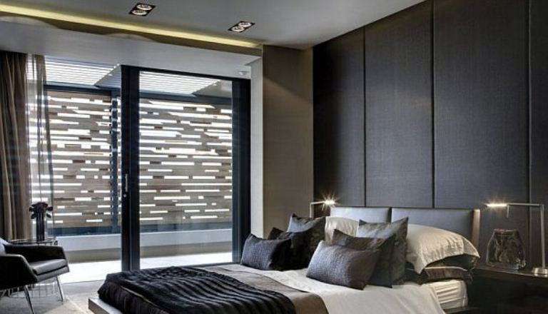 Modern Main Bedroom with Wall wall Leather Panels