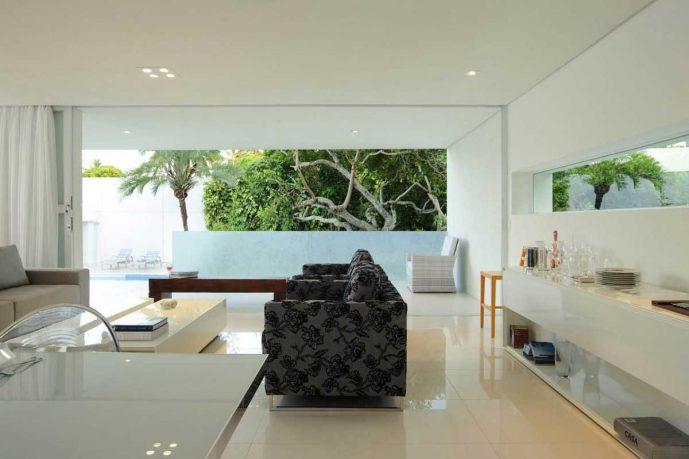 Modern White Living Room with Grey Flower Sofa