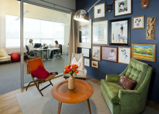 Office Room like a Living Room with Wall Art Decor