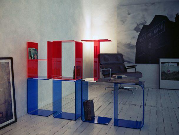 Red Blue Acrylic Letter Shelves Design
