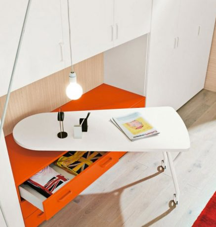 Rolling Study Desk for Kids with White and Orange Color