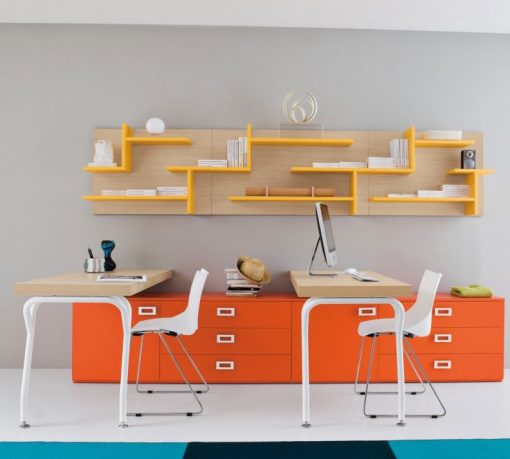 Twin Study Desk with Bright Orange Yellow Color Ideas