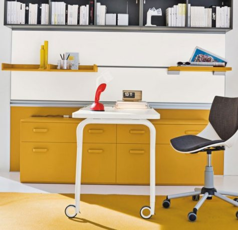 Yellow Furniture in Grey Kids Study Room
