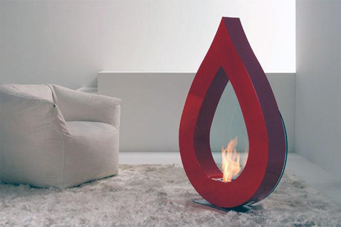 Big Flame Red Teardrop Fireplace Ideas