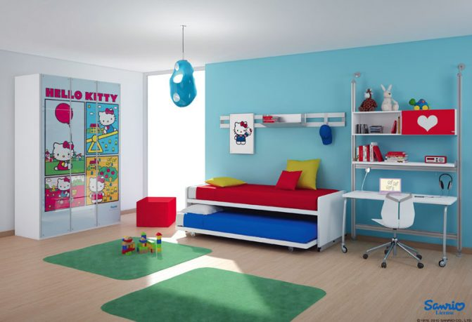 Blue and White Hello Kitty Kids Room