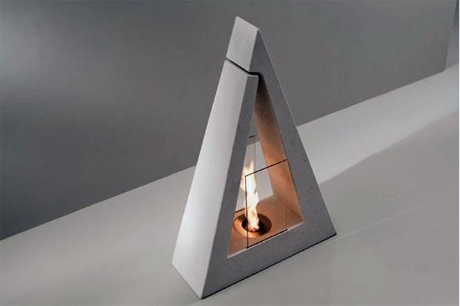 Delta Modern Grey Triangle Fireplace