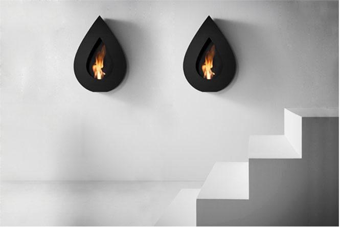 Flame Wall Black Teardrop Fireplace Design