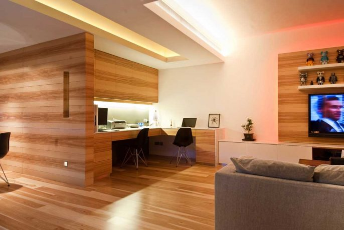 Minimalist Wood Home Office Design