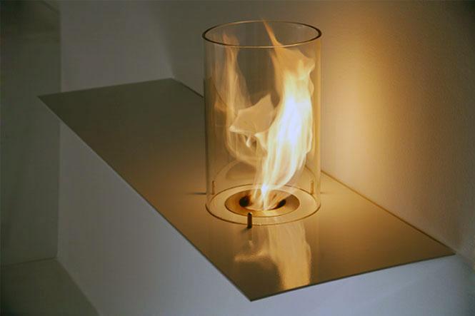 Modern Glass Cylinder Fireplace Design
