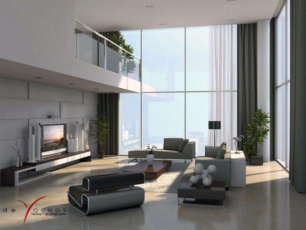 Modern Grey White Lounge Mezzanine House