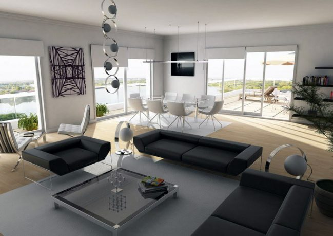 Monochrome Penthouse with Black Sofa
