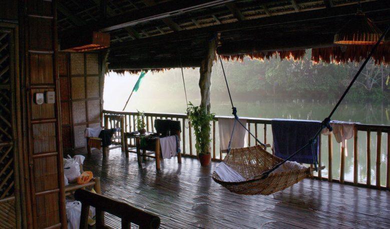Rattan Swing in the Deck Lake Labasin View