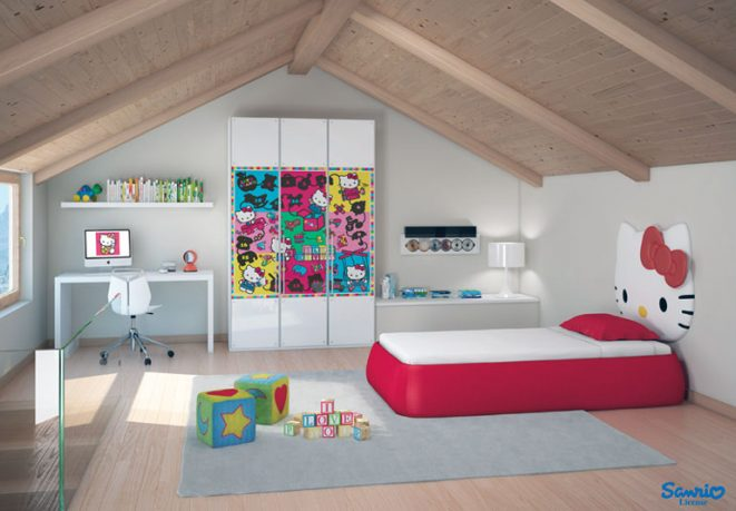 Red White Hello Kitty Room with Wooden Sloping Ceiling