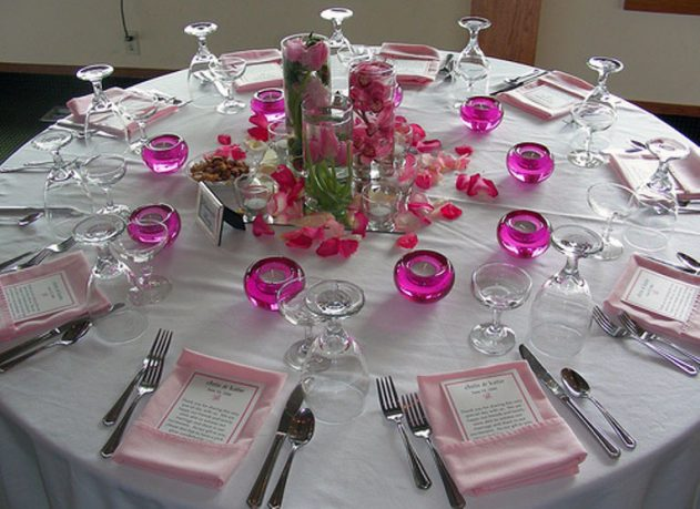 Romantic Table Decor with Purple Glass Candle Holder