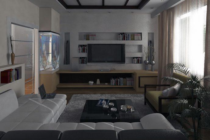 Small White Beige Living Room Design