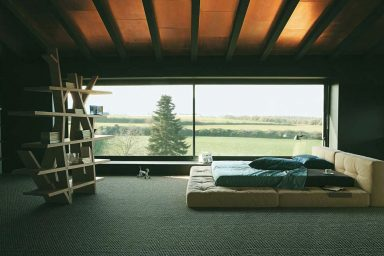 Upholstered Platform Bed with Ceiling Roof Ideas
