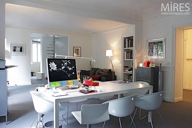 White Dining Room Plus Work Desk Ideas
