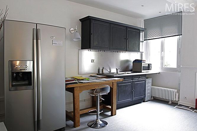 White Kitchen with Black Cabinet Design