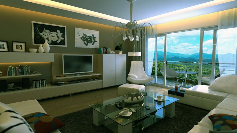 White Taupe Living Room with Recessed Ceiling Light