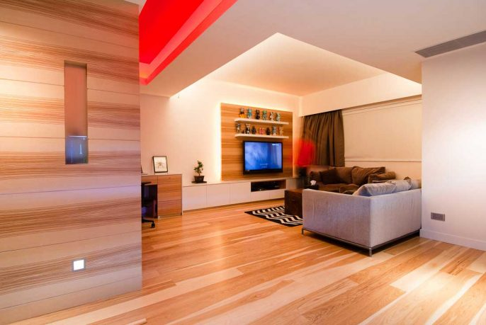 Wood Living Room with LED TV