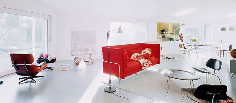 Bright Living Room with Modern Red Sofa Design