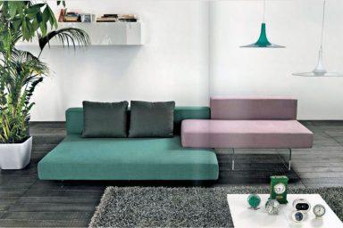 Green Light Purple Sofas in Grey Living Room