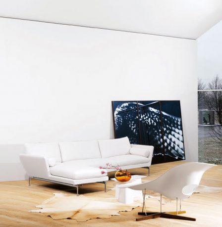 Luxury White Leather Sofa Living Room