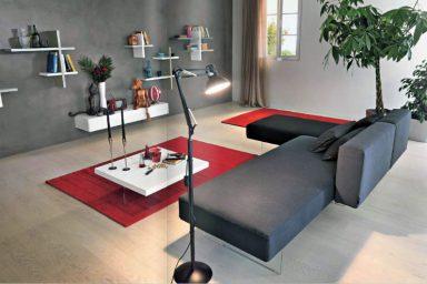 Modern Grey Sofa With Acrylic Stand