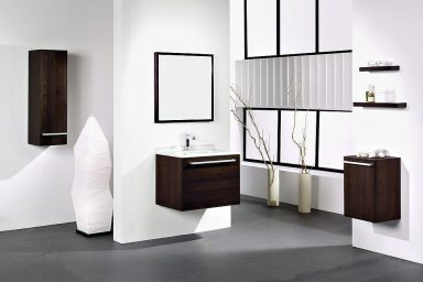Modern White Bathroom with Wooden Washbasin Cabinet Ideas