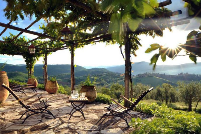 Outdoor Patio Design with Vineyards