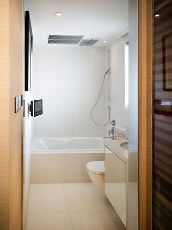 Small White Bathroom Design With LCD TV