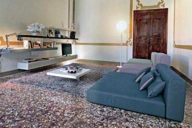 Teal Pale Green and Purple Sova Livingroom