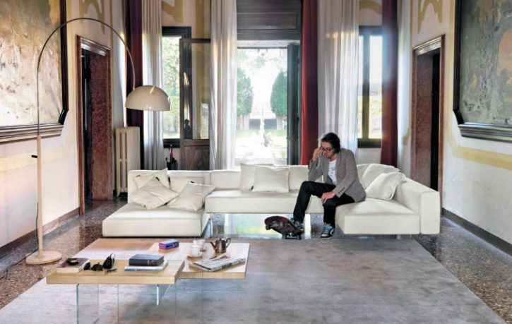 Urban Living Room with White Leather Sofa