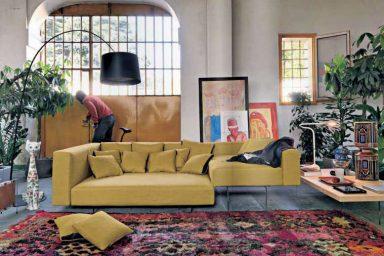 Yellow Modern Sofa with Black Floor Lamp