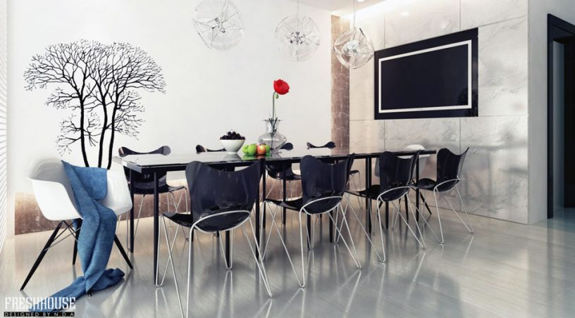 Amazing Black White Dining Room with Tree Wall Decal