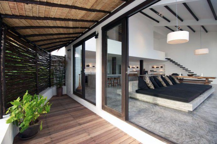 Amazing Sun Terrace with Sliding Door and Wooden Floor