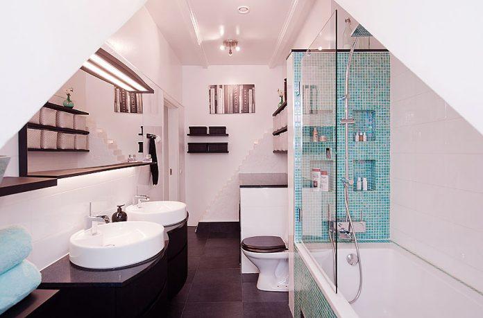 Black White Minimalist Bathroom with Glass Divider